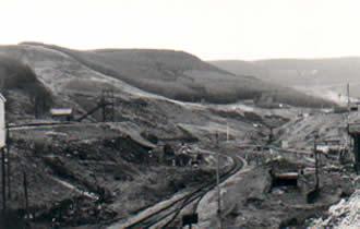 Ffaldau Colliery in 1986 halfway through demolition.