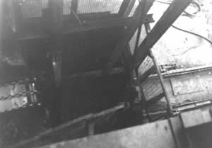 Looking down the shaft at the Garw Colliery in December 1985. They were just about to fill it in. It took 11 days to fill in.