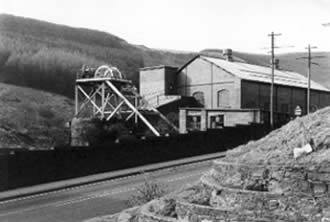 Ffaldau Colliery in 1986 during demolition. This is the compressor/fan house.