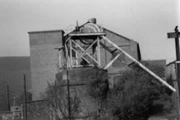 Ffaldau Colliery in 1986 during demolition. This is the upcast shaft.