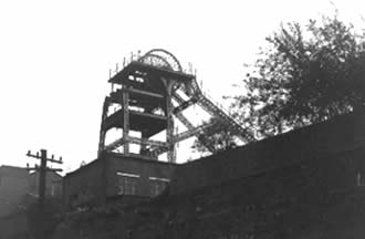Ffaldau Colliery in 1986 during demolition. When travelling down the shaft you would be travelling at roughly 28 feet per second.