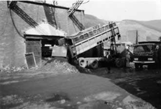 Ffaldau Colliery in 1986 during demolition. They were filling in the shaft here.