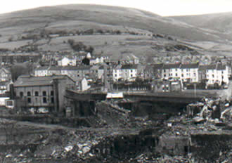 Ffaldau Colliery in 1986 nearing the end of demolition. This is where the pit head was.