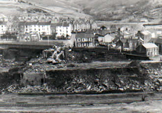Ffaldau Colliery in 1986 demolition is nearly complete.