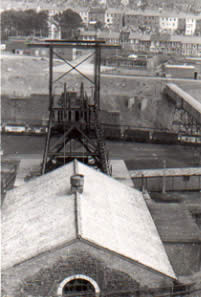 Ffaldau Colliery in 1986 during demolition. This photograph was taken from up the mountain on the Braich y Cymer side.