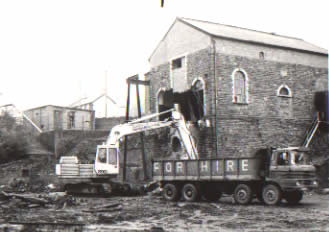 Ffaldau Colliery winding house demolition 1985.