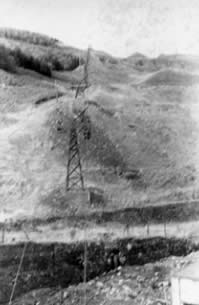 Ffaldau Colliery in 1986 during demolition. This is the Aerial Ropeway just before it was demolished.