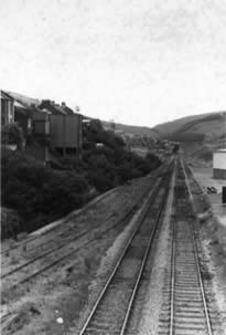 The Garw railway line taken from the bridge next to the Ffaldau Colliery. There were 4 sets of tracks here to transport coal as well as people.