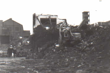 Ffaldau Colliery winding house being demolished in 1985. The last remains...