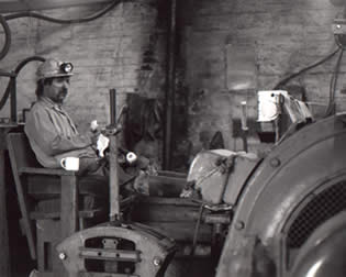 The haulage engine at Tower Colliery. The driver is having a break.