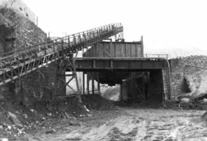 The conveyor belt at Western Colliery, Nantymoel feeding coal into the 'bunker' which in turn loaded the trucks.