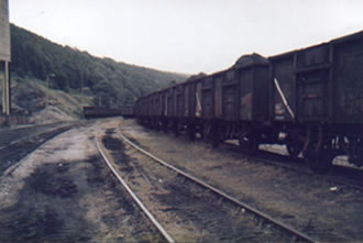 A line of trucks that have just come out of the washery and on the way to the power station in Aberthaw.