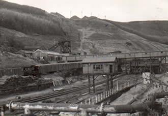 Ffaldau Colliery during demolition in 1986.