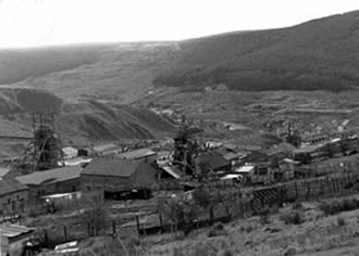 Garw Colliery before its demolition in 1986. There are two small lakes here now, added as part of the reclamation scheme.