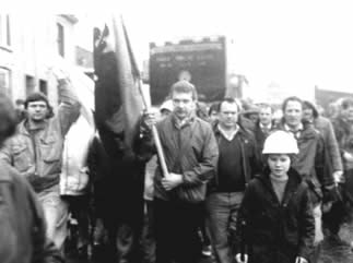 Protest march against pit closures in the Garw Valley in 1985.
