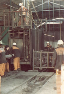 Coegnant Colliery 1981 Retrieving the the water pipes (which pumped the water out of the pit)
