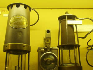 A selection of miners' lamps on display at the South Wales Miners' Museum