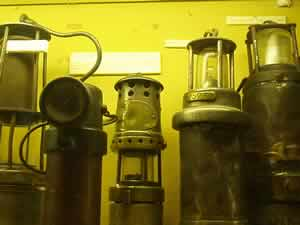 A selection of lamps used in mining