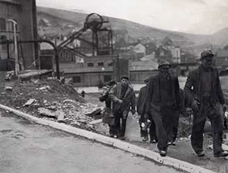 Miners coming 'off shift' at Ffaldau Colliery in 1955.