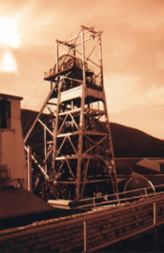 Taff Merthyr Colliery 1991 When it was closed both the head frames were demolished using explosives. It was the last colliery to be sunk in South Wales (1925)